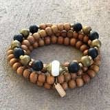 Necklaces - Healing Sandalwood, Onyx, Hematite And Tibetan Pearl Guru Bead 108 Bead Mala Necklace