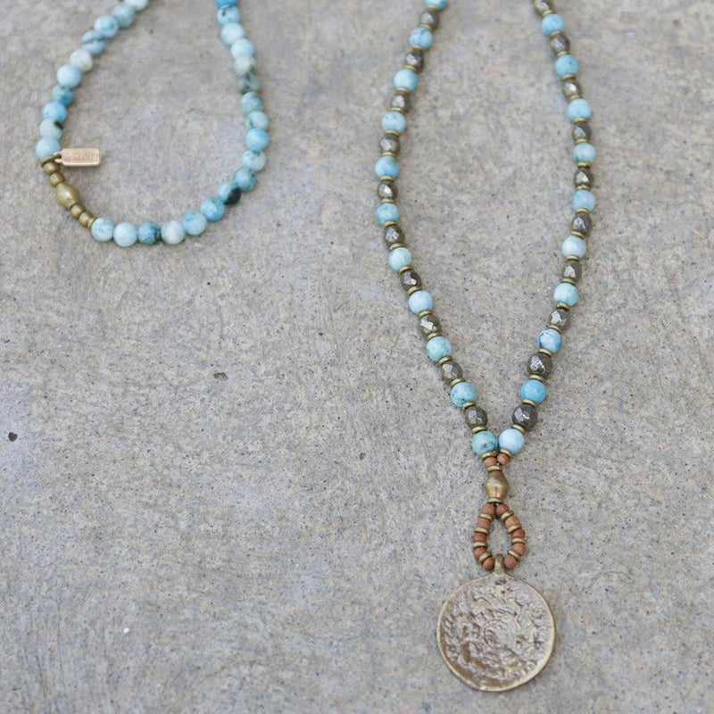 Necklaces - Hemimorphite And Pyrite 'Communication And Strength' Mala Necklace
