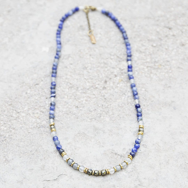 "Necklaces - ""Intuition And Strength"" Sodalite And Quartz Crystal Delicate Gemstone Necklace"