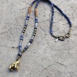 "Necklaces - ""Intuition And Strength"" Sodalite And Quartz Crystal Elephant Mala Necklace"