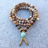 Necklaces - Jasper And Tiger's Eye 'Protection And Prosperity' 108 Bead Wrap Mala Bracelet