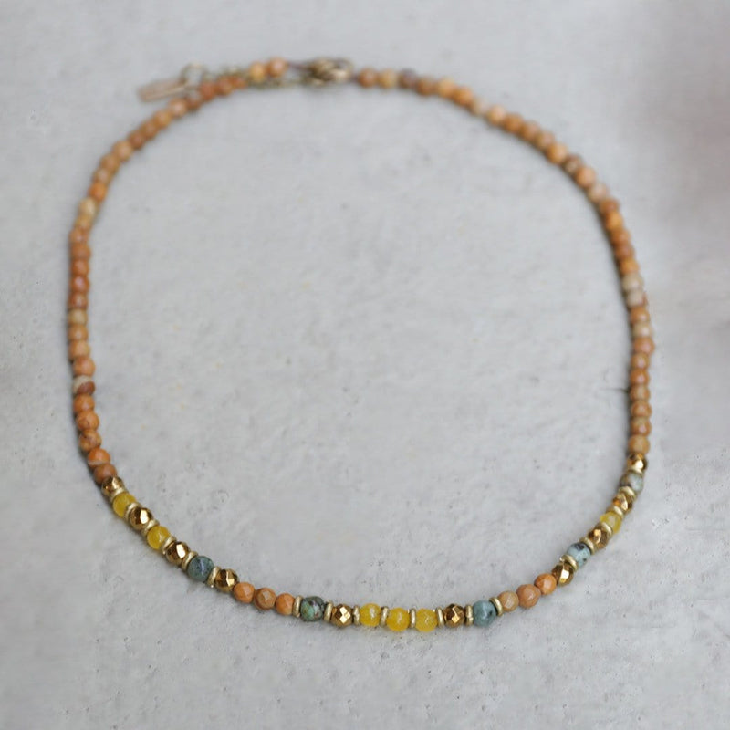 Necklaces - Jasper And Yellow Jade Delicate Necklace
