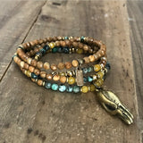 Necklaces - Jasper And Yellow Jade Delicate Necklace Wrap Bracelet With Mudra Pendant