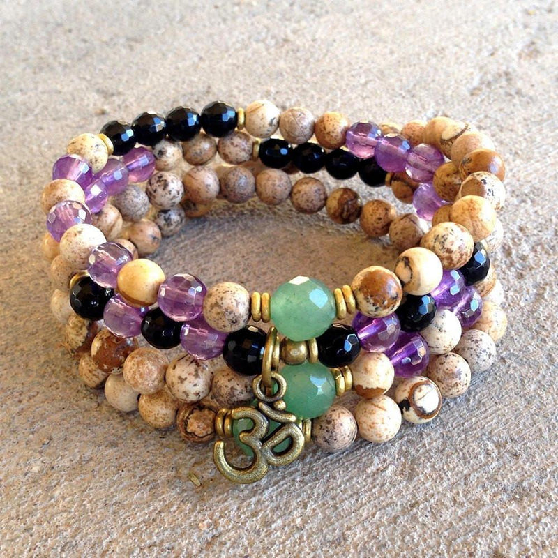 Necklaces - Jasper, Aventurine, Onyx And Amethyst Gemstone 108 Bead Mala Wrap Bracelet Or Necklace With Om Charm