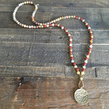 Necklaces - Joy And Grounding, Crazy Lace Agate And Red Jasper Beaded Mala Necklace With Tibetan Pendant