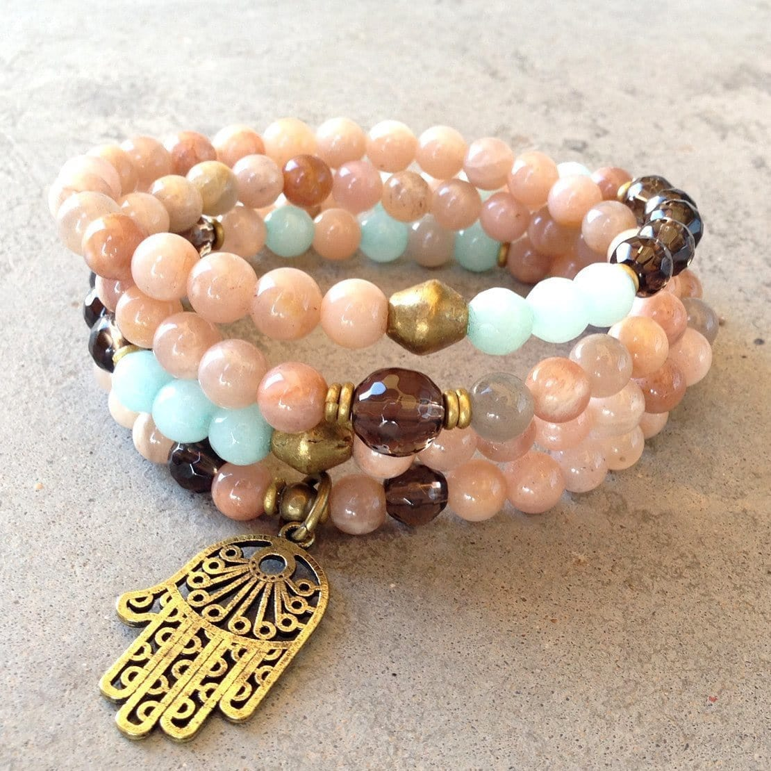 Necklaces - Joy and Positivity, Sunstone and Smoky Quartz 108 Bead Mala Necklace Or Bracelet