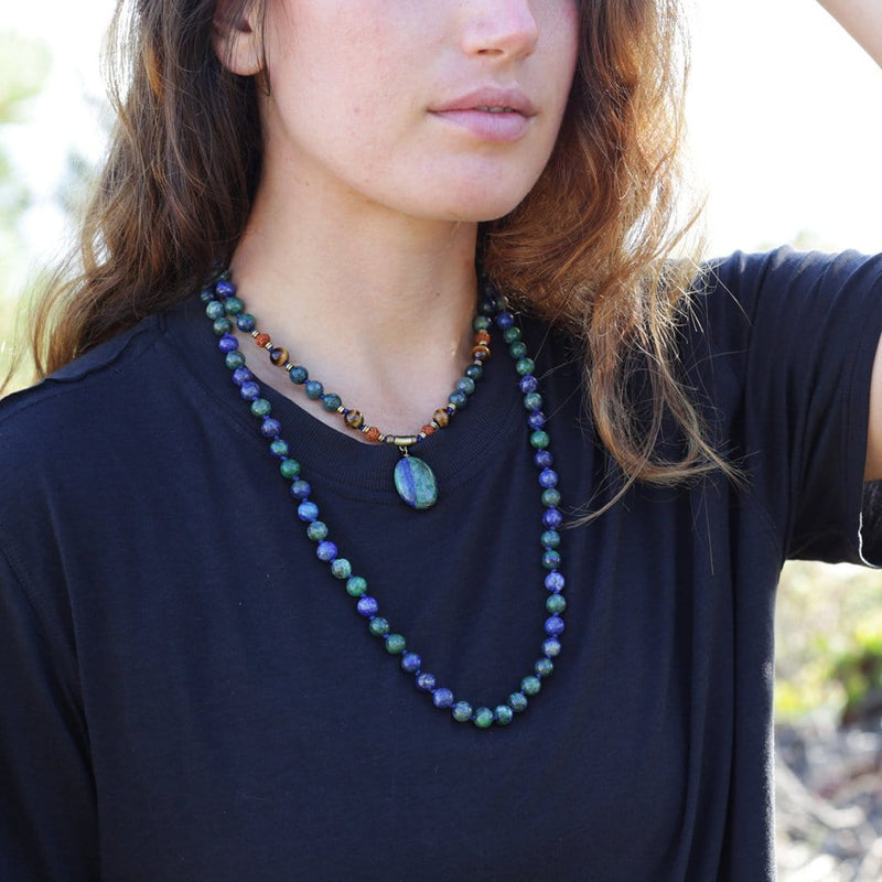 Necklaces - Lapis Lazuli Hand Knotted Mala Necklace