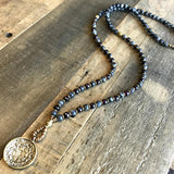 Necklaces - Larvikite And Garnet 'Serendipity And Love' Mala Necklace