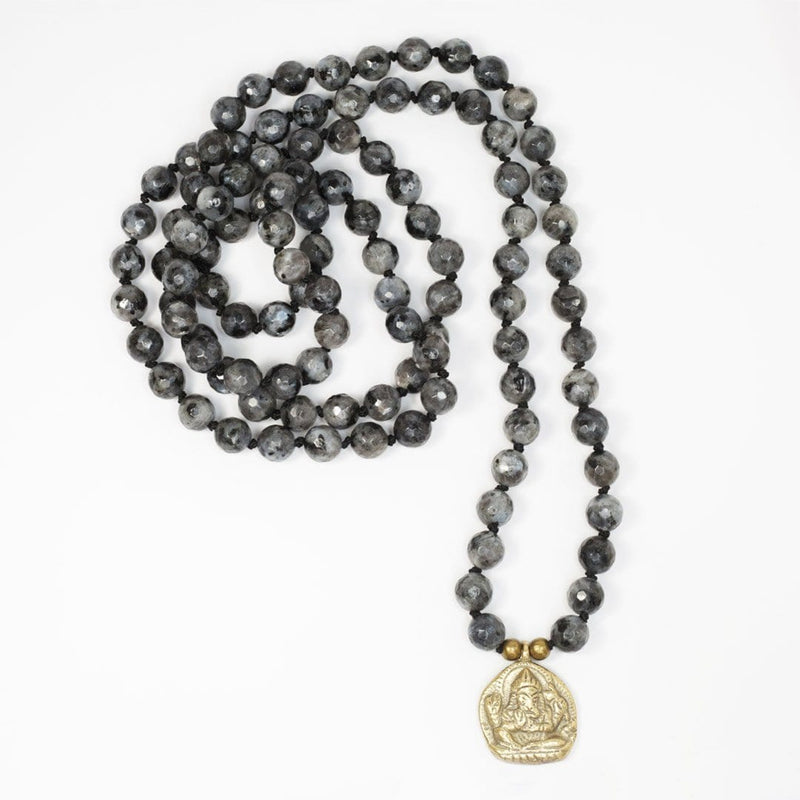 Necklaces - Larvikite Hand Knotted Mala Necklace With Ganesh 'Success' Pendant