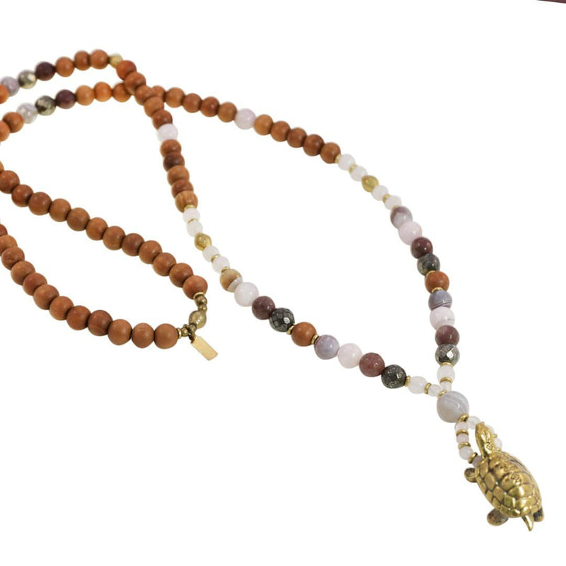 Necklaces - Love And Patience, Love Gemstones And Turtle Mala Necklace