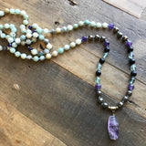 Necklaces - Mala, Amazonite, Onyx, And Pyrite Hand Knotted Mala Necklace