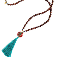 Necklaces - Mala Beads, Hand Made Silk Tassel, And Tibetan Guru Bead 108 Bead Mala Necklace
