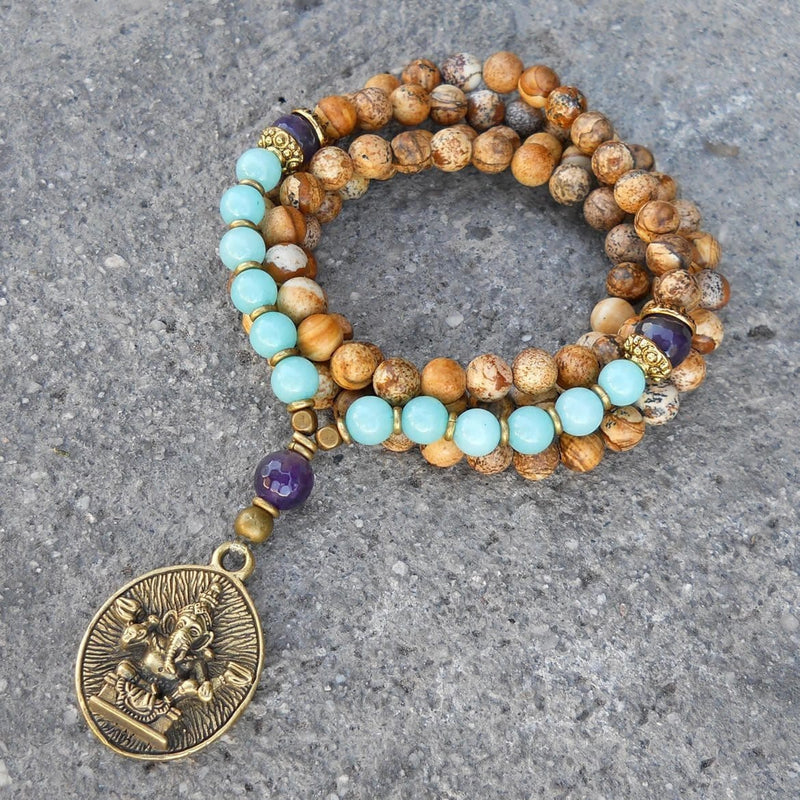 Necklaces - Nurture And Calm, 108 Bead Jasper, Amethyst And Amazonite Gemstone  Mala Wrap Bracelet Or Necklace With Ganesh Pendant
