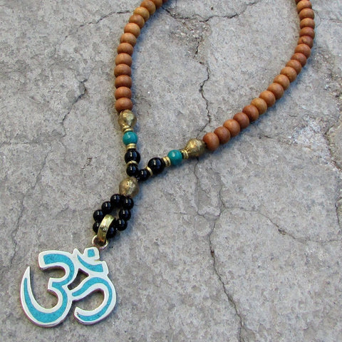 Necklaces - Om, Sandalwood 108 Bead Mala Necklace