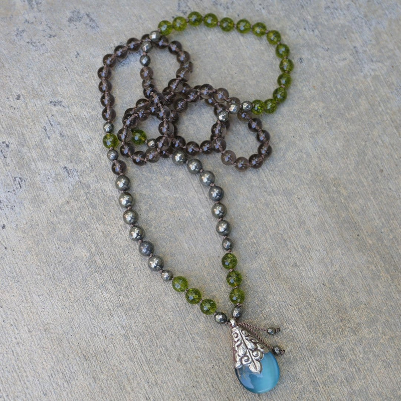 Necklaces - Peridot And Smoky Quartz 'Good Luck And Protection' Hand Knotted Mala Necklace