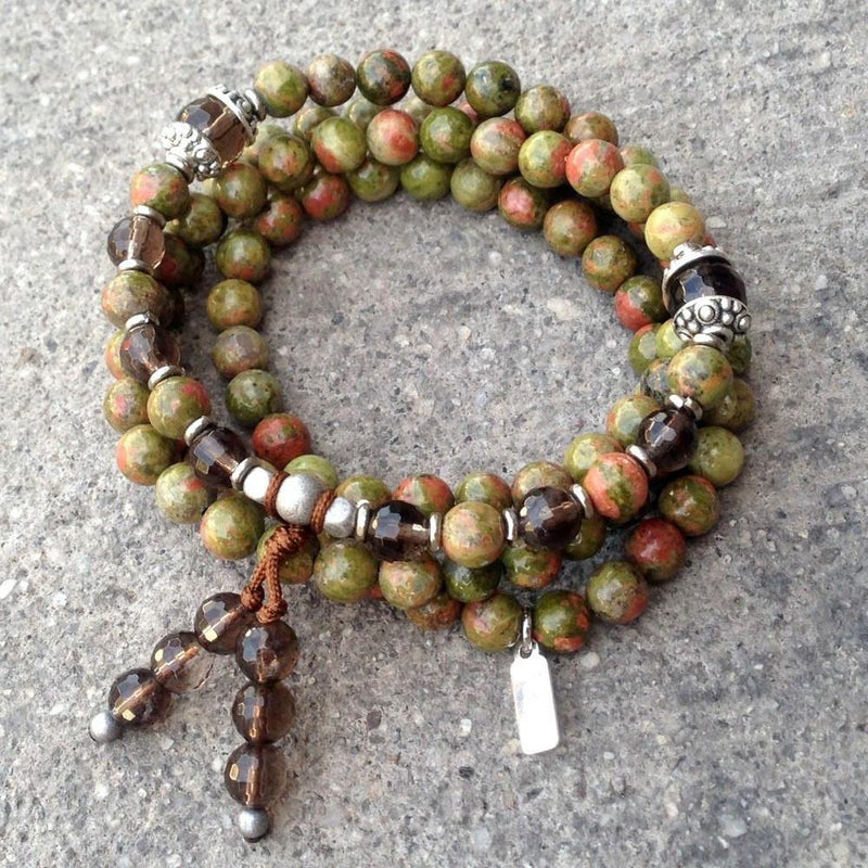 Necklaces - Positivity And Grounding, Unakite And Smoky Quartz 108 Bead Wrap Bracelet Or Necklace