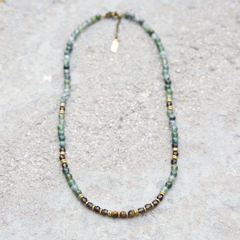 "Necklaces - ""Prosperity And Abundance"" Moss Agate And Smoky Quartz Delicate Gemstone Necklace"