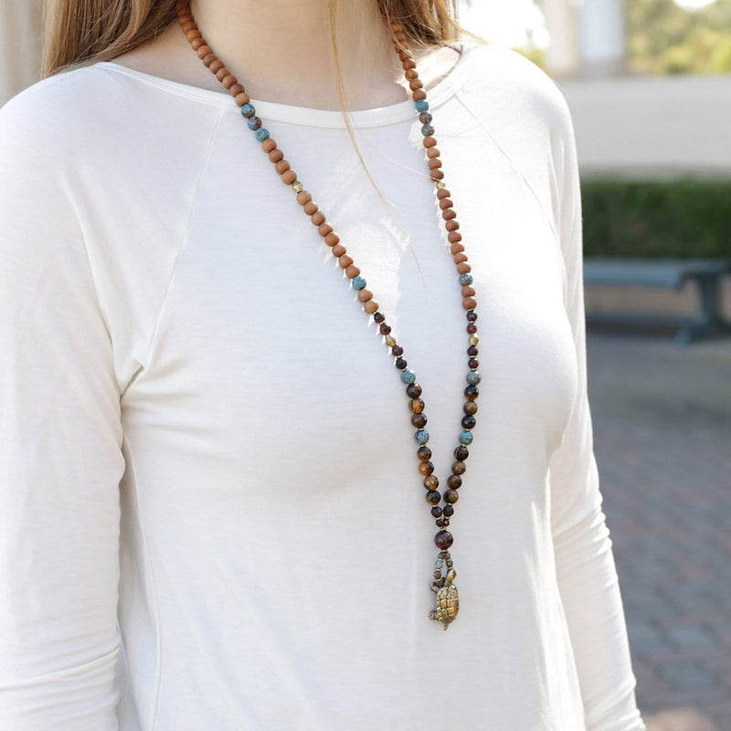 Necklaces - Prosperity And Patience, Tiger's Eye And Sandalwood Turtle Mala Necklace
