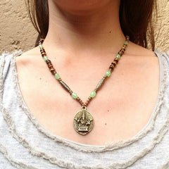 Necklaces - Prosperity And Success, Genuine Tiger's Eye And African Trade Beads Beaded Ganesh Necklace