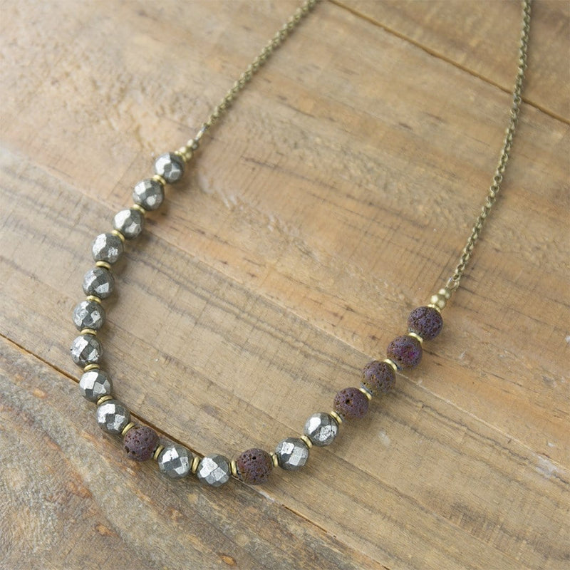Necklaces - Pyrite Essential Oil Diffuser Necklace