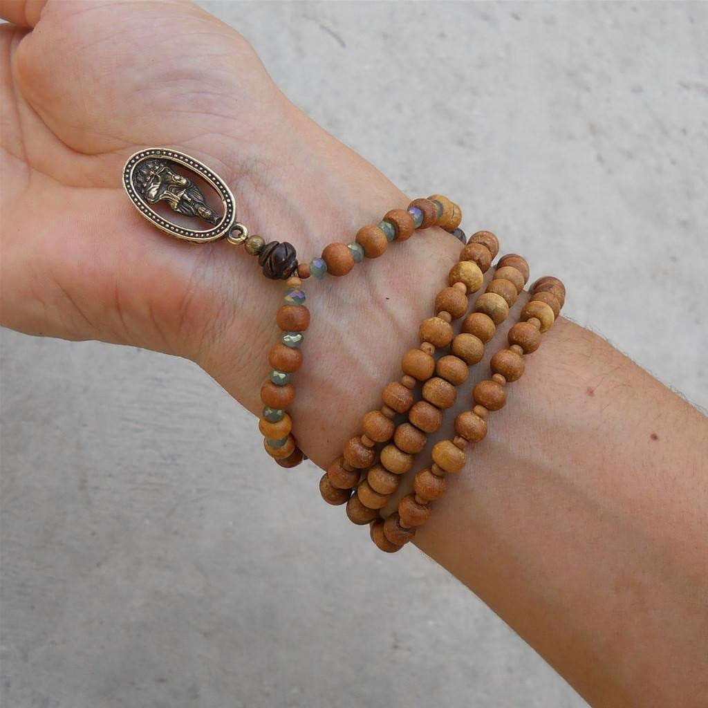 Necklaces - Quan Yin -108 Bead Mala Yoga Bracelet, Wrap Bracelet Or Necklace, Aromatic Sandalwood, And Tibetan Hand Made Pendant Of Quan Yin