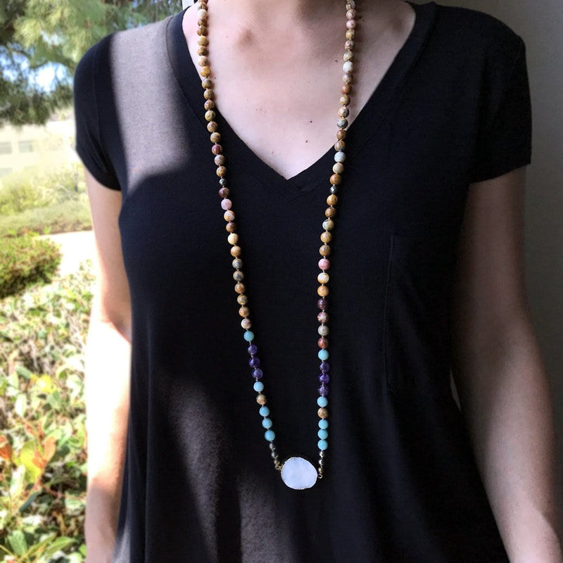 Necklaces - Quartz Crystal, Amazonite, And Agate Hand Knotted Mala Necklace