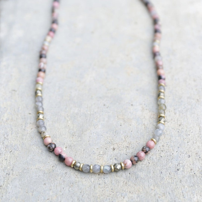 Necklaces - Rhodonite And Labradorite Delicate Necklace