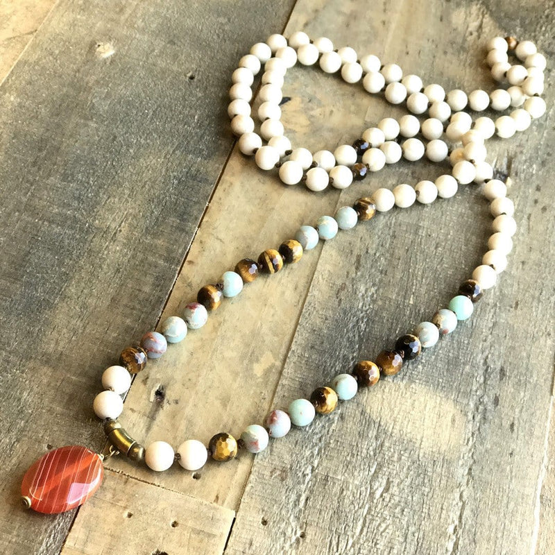 Necklaces - Riverstone, Tigers Eye And Carnelian Hand Knotted Mala Necklace