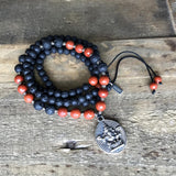 Necklaces - Root Chakra Aromatherapy Lava Rock Mala Beads With Ganesh Pendant