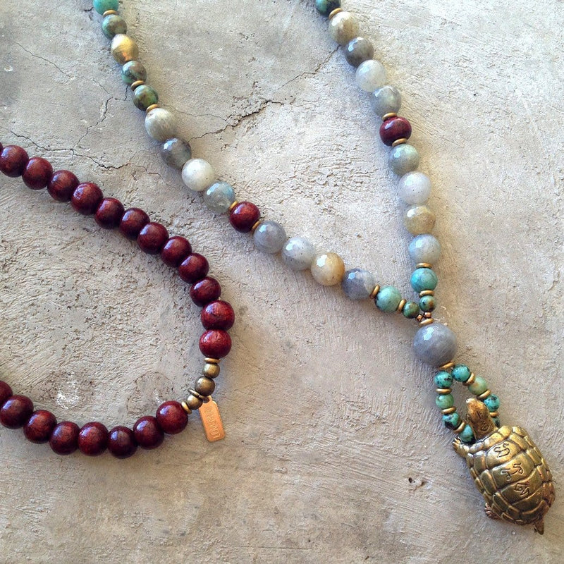 Necklaces - Rosewood, Labradorite, And African Turquoise 'Patience And Serendipity' 108 Bead Mala Necklace With Solid Brass Turtle Pendant