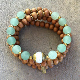 Necklaces - Sandalwood And Matte Aventurine 108 Mala Necklace/ Bracelet With A Tibetan Pearl Guru Bead