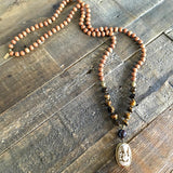 "Necklaces - Sandalwood And Tiger's Eye Ganesh ""Success"" Mala Prayer Beads Necklace"