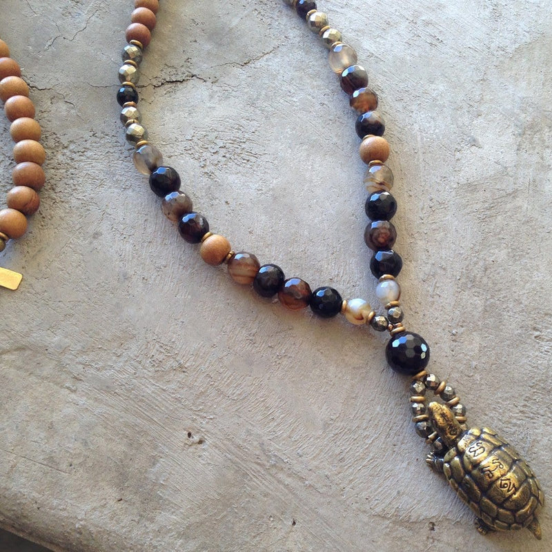 Necklaces - Sandalwood, Coffee Agate, And Pyrite 'Healing And Patience' 108 Bead Mala Necklace With Solid Brass Turtle Pendant