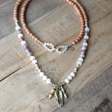 Necklaces - Sandalwood, Pearl And Rose Quartz 108 Bead Mala Necklace