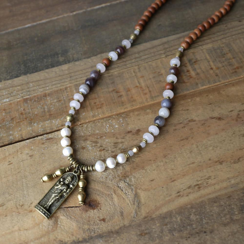 Necklaces - Sandalwood, Pearl And Rose Quartz Lakshmi Mala Necklace