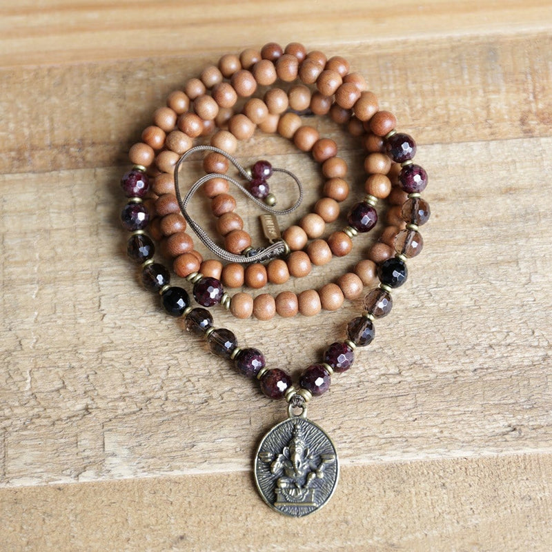 Necklaces - Sandalwood Root Chakra Mala Necklace