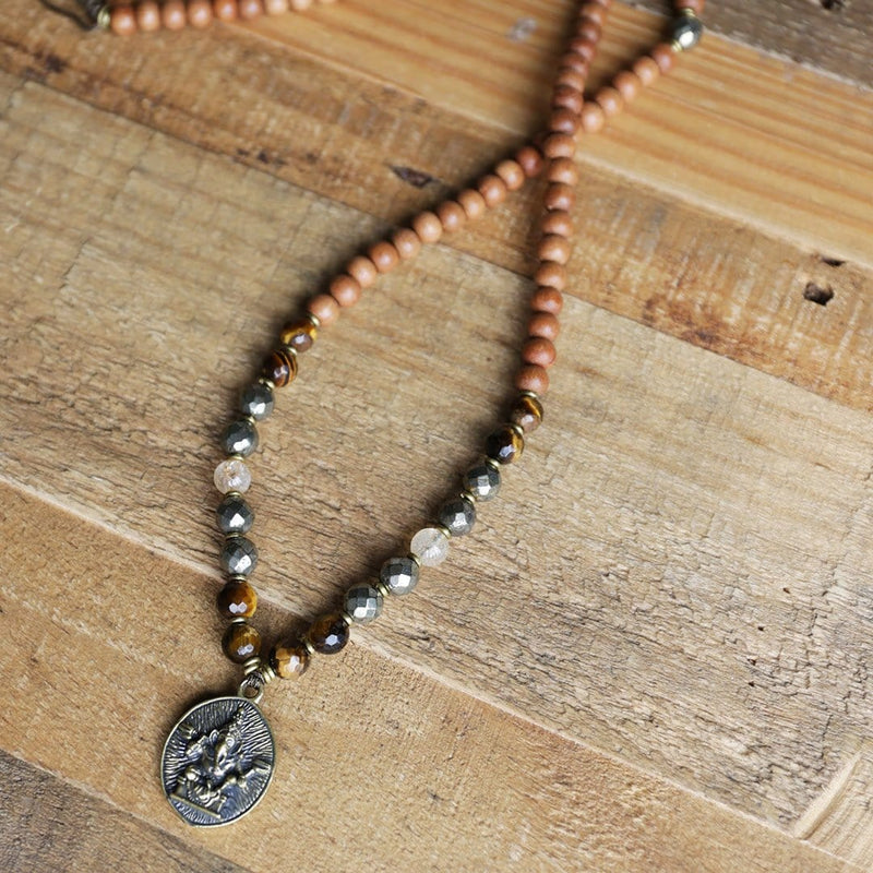 Necklaces - Sandalwood Solar Plexus Chakra Mala Necklace