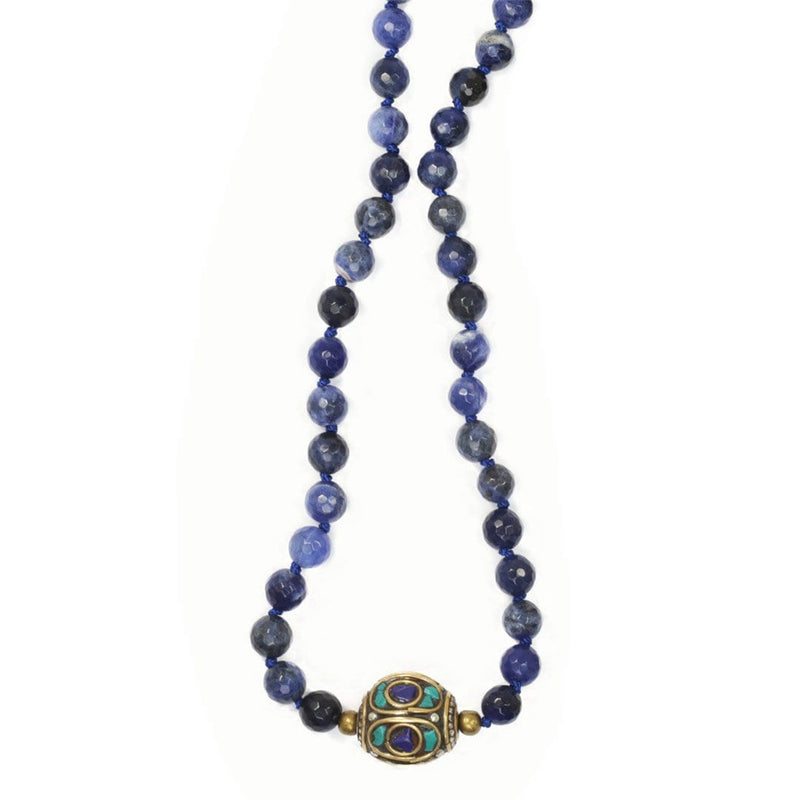 Necklaces - Sodalite Hand Knotted Mala Necklace