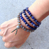 "Necklaces - Sodalite, Labradorite, And Pyrite ""Peace And Serendipity"" 108 Bead Mala Bracelet Or Necklace"