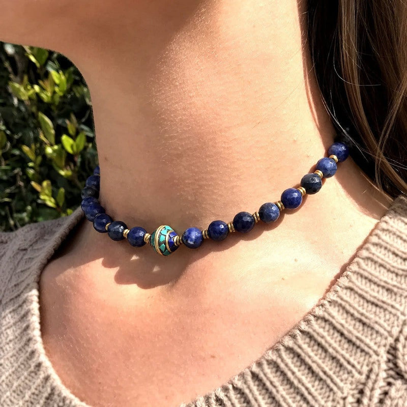 Necklaces - Sodalite Mala Choker Or Wrap Bracelet For Peace
