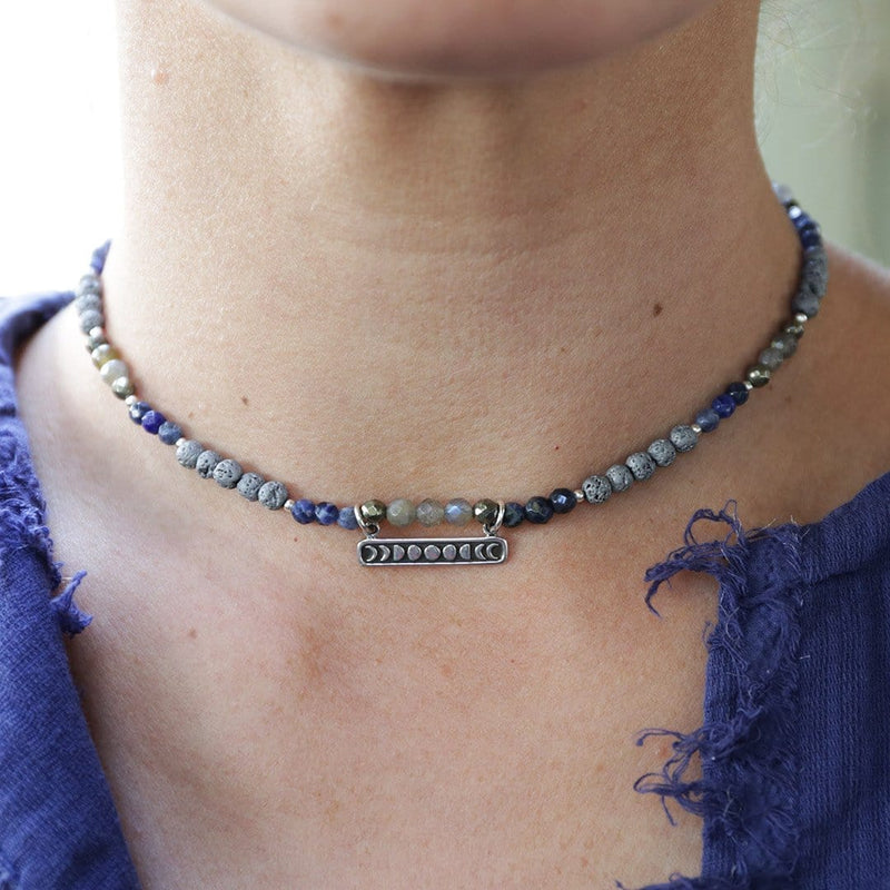Necklaces - Sodalite Sterling Silver Moon Phase Aromatherapy Choker