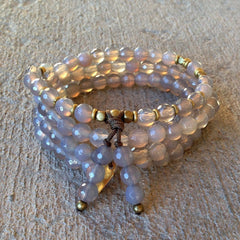Necklaces - Spiritual, Grey Agate 108 Bead Mala Wrap Bracelet Or Necklace