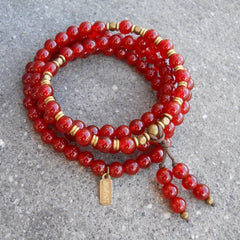 Necklaces - Stability, 108 Bead Mala Red Carnelian Wrap Bracelet Or Necklace