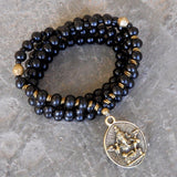 Necklaces - Strength - 108 Mala Wood Prayer Beads And African Trade Bead Wrap Yoga Bracelet Or Necklace, With Ganesh Pendant