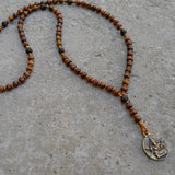 Necklaces - Success, Wood And Ganesh Pendant Unisex Necklace