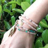 Necklaces - Sunstone And Amazonite Delicate Necklace Wrap Bracelet With Mudra Pendant