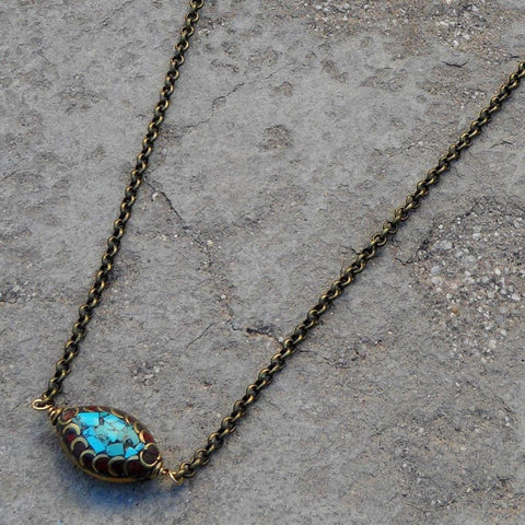 Tibetan evil eye on solid brass chain necklace
