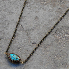 Necklaces - Tibetan Evil Eye On Solid Brass Chain Necklace