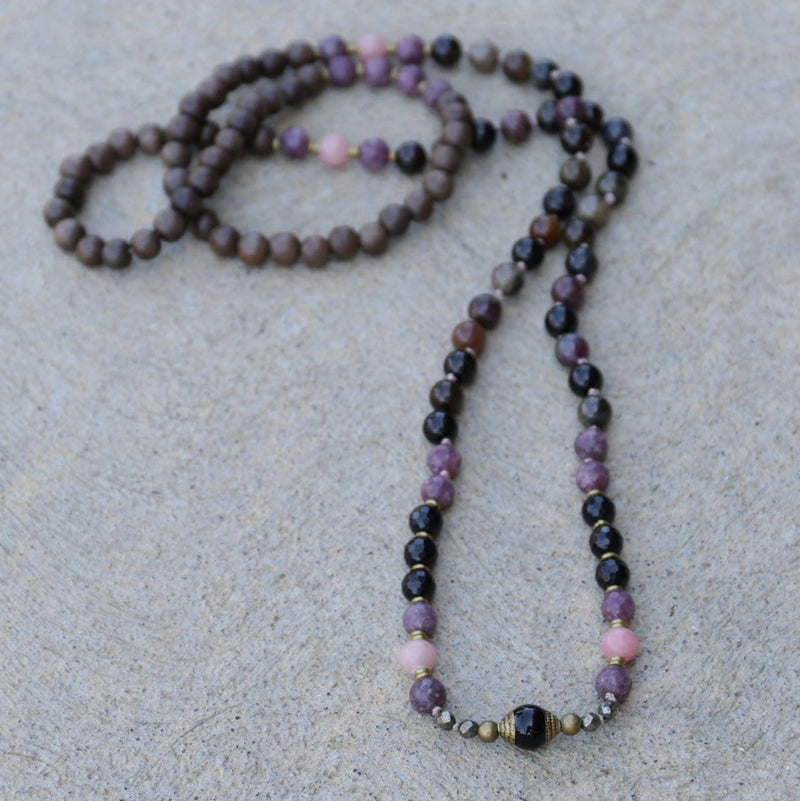 Necklaces - Tourmaline And Opal Hand Knotted Mala Necklace