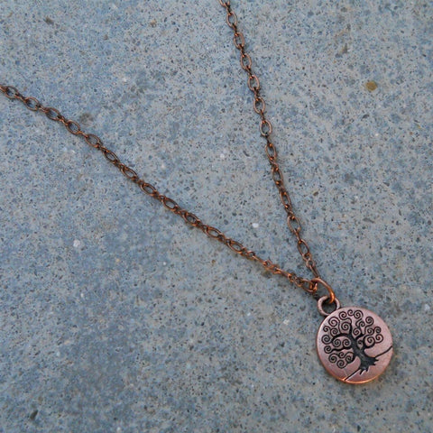 tree of life - copper chain necklace